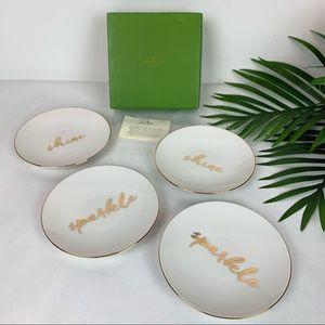"KATE SPADE Sparkle Shine Gold Rim Tidbit 6"" Plates"